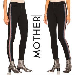 MOTHER High Waist Black Ankle Frayed Skinny Jeans